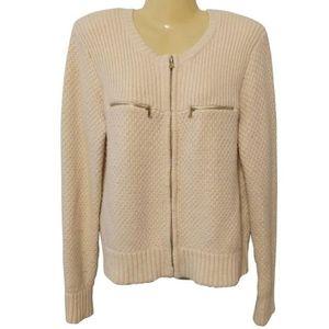 REISS Cream zip Cardigan Lambswool Cashmere blend